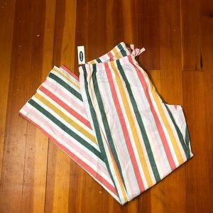 Cotton Striped Pajama Bottoms Elastic Waist M